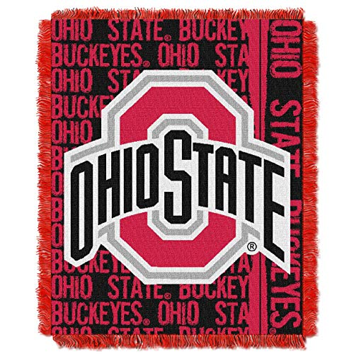 The Northwest Company Officially Licensed NCAA Ohio State Buckeyes Double Play Jacquard Throw Blanket, 48