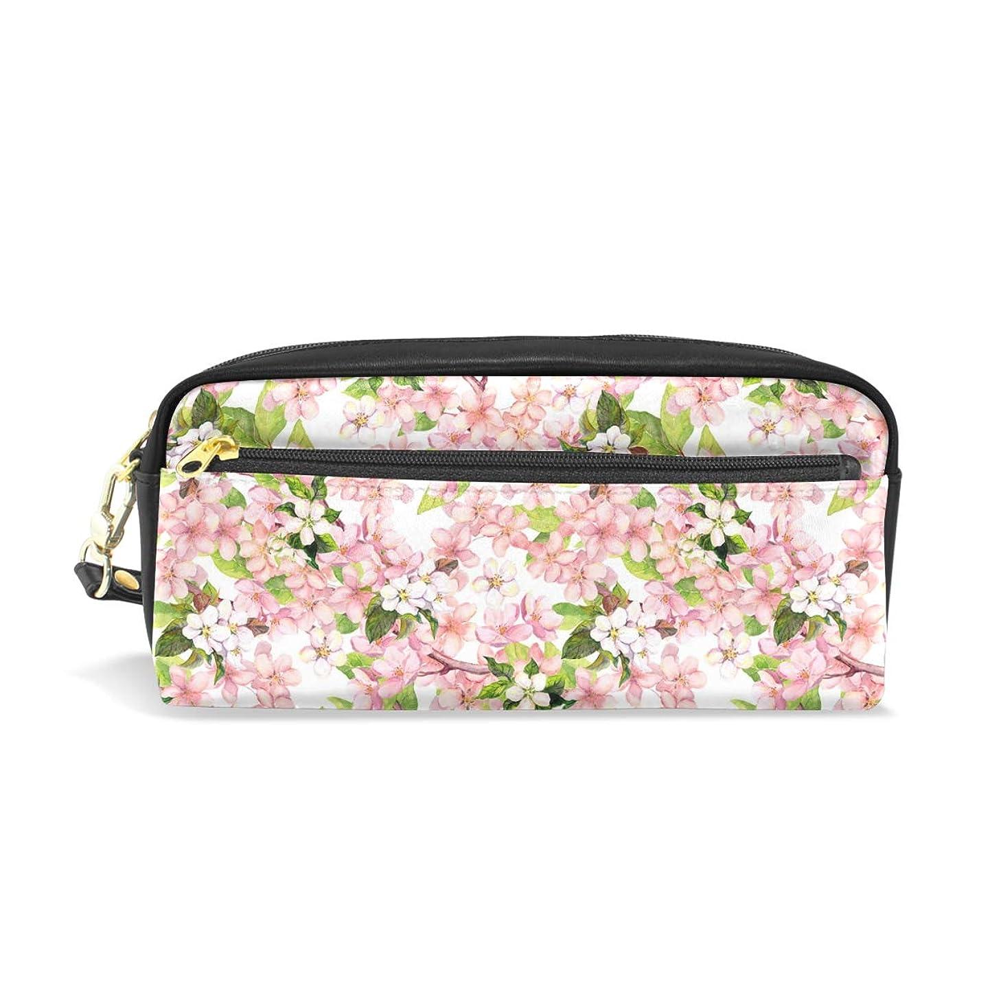生理思い出させる私のAOMOKI ペンケース 小物入り 多機能バッグ ペンポーチ 化粧ポーチ おしゃれ かわいい 男女兼用 ギフト プレゼント 花柄 桜