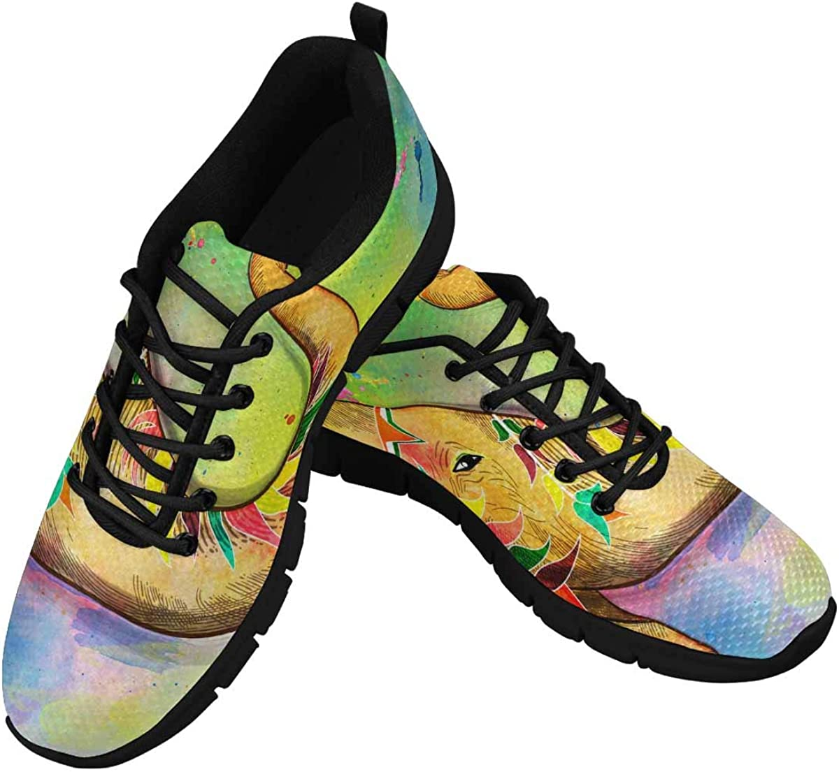 INTERESTPRINT Traditional Indian Festival Holi Women's Sneaker Lace Up Running Comfort Sports Shoes