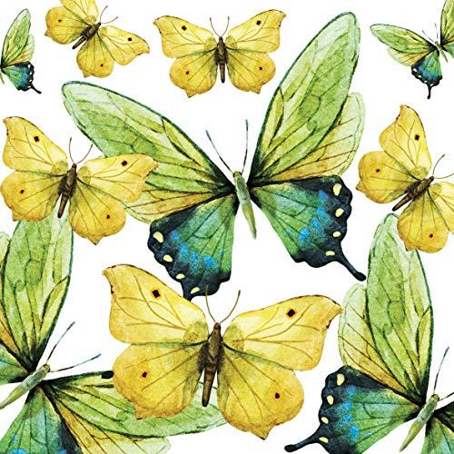Home Collection Servietten (2er Set / 40Stück) 3-lagig 33x33cm Schmetterlinge Green Butterflies