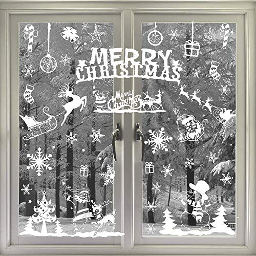 VEYLIN 104 Static Snow Flakes Stickers Merry Christmas...