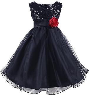 Wocau Little Girls  Sequin Mesh Tull Dress Sleeveless Flower Party Ball Gown b638db40dcce