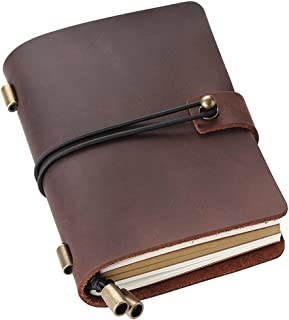 Leather Writing Journal Notebook Refillable, Pocket Vintage Leather Travel Journal Diary 5.2