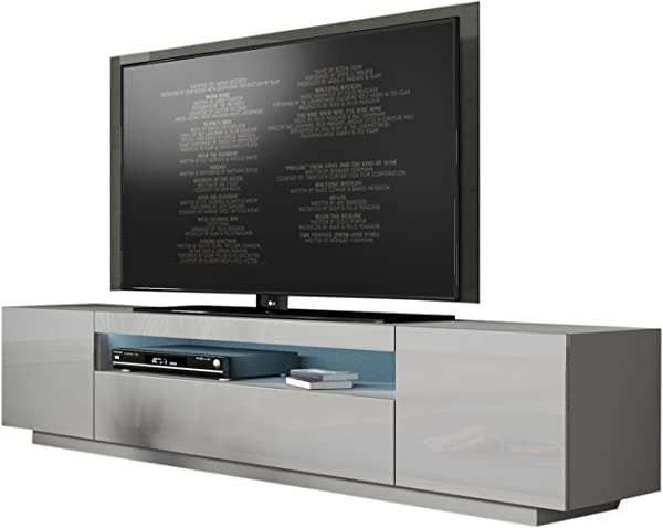 MEBLE FURNITURE RUGS Miami 200 Modern 90 TV Stand High Gloss Front 16 Colors LED Light Grey