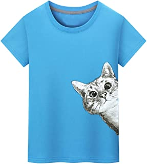 Sunhusing Men's Fashion Cute Kitten Cat Print T-Shirt Solid Color Short Sleeve Shirt Tees Tops