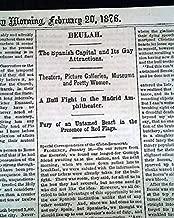 EARLY BULLFIGHTING Madrid Capital of Spain Description 1876 Old Newspaper