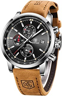 BY BENYAR BENYAR Waterproof Quartz Men Watch, Fashionable Chronograph Analog Water-Resistant Business Brown Leather Watches