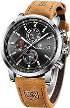 BENYAR Fashion Men's Quartz Chronograph Waterproof Watches Business Casual Sport Design Brown Leather Band Strap Wrist Watch (Silver Back)