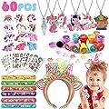 vamei 60 Piezas Aarticulos de Fiesta Niño Unicornio Piñatas de Cumpleaños Diademas Unicornio Pulseras de Juguete Tatuajes Temporales Niños Anillo Niñas Regalos Cumpleaños