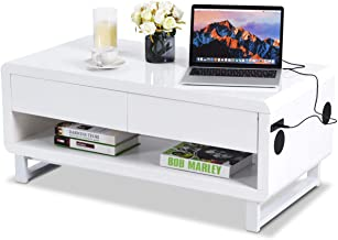 Tangkula Modern Coffee Table, W/Drawer Lights USB Charging Port/Built-in Bluetooth Speakers Console Table, Innovative Living Room Furniture, Coffee Table (White)