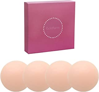 Nippleless Covers, Pasties, Silicone Reusable Breast Pasties Adhesive Bra (2 Pairs Round 2019 Version)