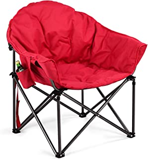 Giantex Folding Camping Chair Moon Saucer Chair Lightweight Sofa Chair Round Beach Chair with Soft Padded Seat, Cup Holder and Metal Frame Chairs for Hiking, Camping, Fishing or Picnic