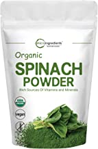 Sustainably US Grown, Organic Spinach Powder, 1 Pound (16 Ounce), Rich in Beneficial Thylakoids and Chlorophyll, Contains Immune Vitamin C for Immune System Booster, Non-GMO and Vegan Friendly