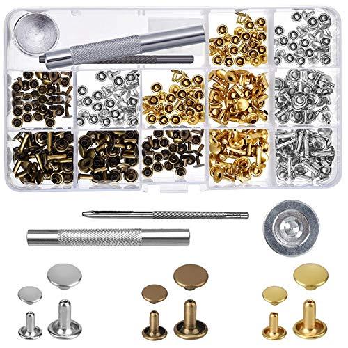 FEIGO drukknopen metaal 52 set klinknagels knopen geen naaimachines leer drukknopen met bevestigingsgereedschap voor doe-het-zelf, stof, jassen, jeans, tassen, riemen (15mm) B