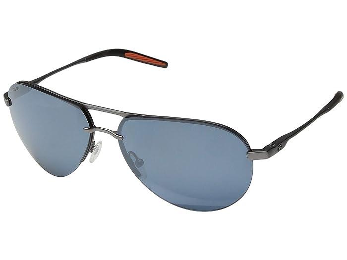 Costa  Helo (Matte Silver/Translucent Grey/Orange/Gray Silver Mirror 580P) Athletic Performance Sport Sunglasses