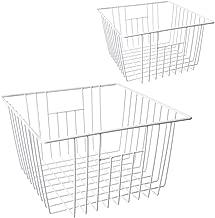 MOHICO Freezer Basket, Wire Storage Basket Bins Organizer with Handles for Kitchen, Pantry, Freezer, Cabinet - Pearl White (set of 2)