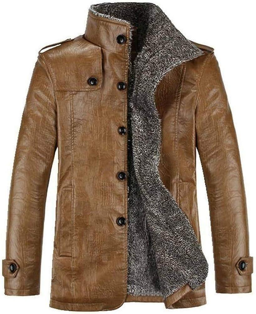 Men Warm Winter Overcoat Leather Lamb Fur Lined Thick Coat Fashion Cowboy Jacket