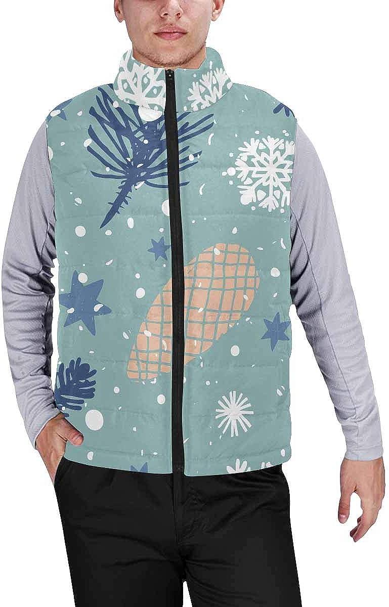 InterestPrint Men's Soft Full Zip Sleeveless Jacket for Running, Hiking Christmas Pattern
