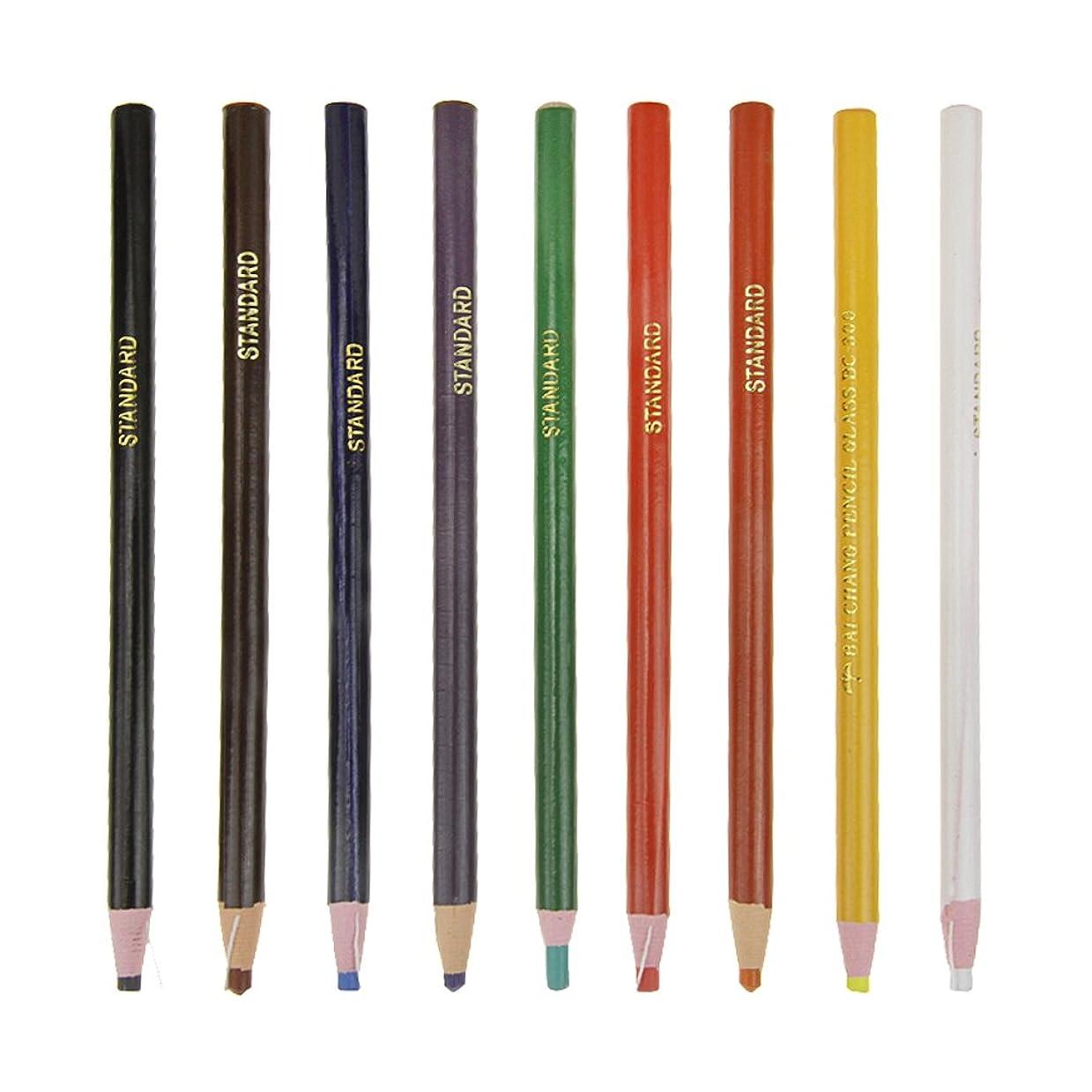 航空機討論シルクマーク鉛筆 マークチョーク 油性クレヨン 色鉛筆 9色セット 布 ガラス タイル 鋼材 木製ボードなどに書ける カラーペン 紙ロールの軸 糸引き 手汚れず 安全 エコ 鮮やか なめらか マーカーペン