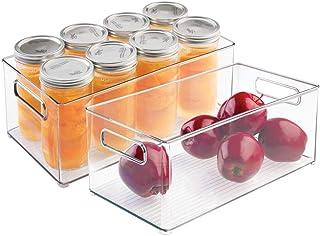 mDesign Pojemniki plastikowe – Organizery do lodówki do przechowywania żywności – Pojemniki do lodówki lub zamrażarki – 2-...