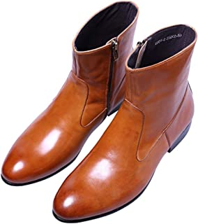 SANTIMON Mens Dress Boots Leather Pointed Toe Chelsea Chelsea Ankle High Boot with Side Zipper