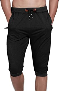 YSENTO Men's Casual Cotton Shorts 3/4 Jogger Capri Cropped Pants Below Knee Shorts with Pockets