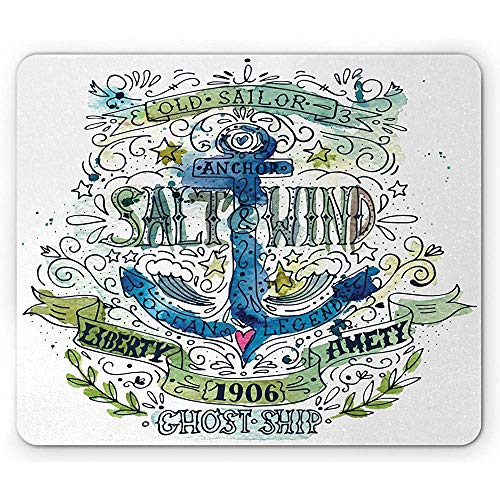 Mauspad Anker Salz und Wind 1906 Liberty Amity Ghost Ship Alter Seemann Stürmischer Ozean Rutschfestes Gummi Mousepad