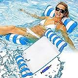 LATERN Hamaca flotante de 130 cm, silla de montar 4 en 1, silla de estar, hamaca/Drifter, cama flotante inflable balsa reclinable playa bañera caliente Mat (azul)