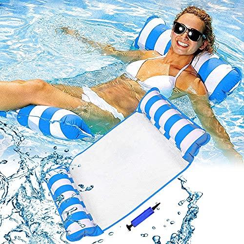 LATERN 130CM Hamaca Flotante Para Piscina, 4 En 1 Silla /Sillón /Hamaca /Cama Flotante Inflable Drifter Sillón Reclinable Balsa Alfombrilla Para Bañera De Hidromasaje De Playa (Azul)