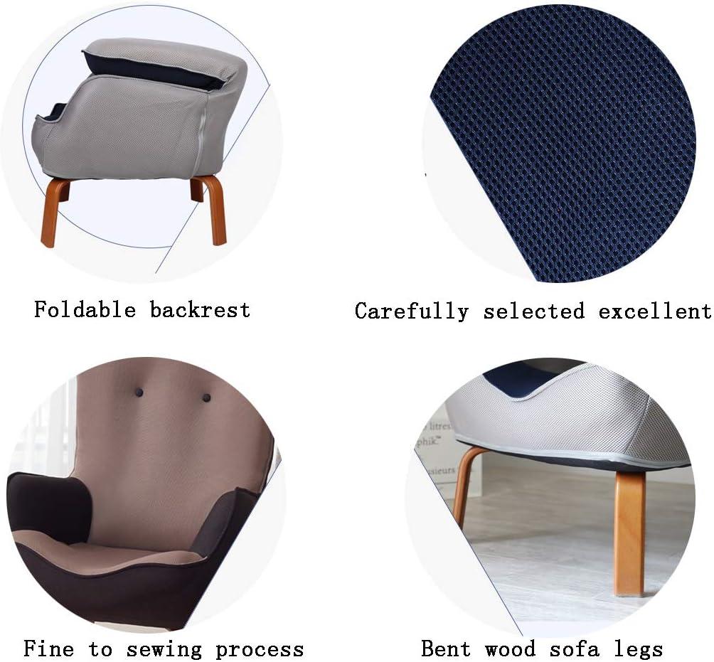 HCH Chair Fauteuil de lit à Dossier Simple avec Dossier Paresseux avec Cheville Jaune, inclinable et Repose-Pieds, pour Salon Chambre à Coucher (Gris) B