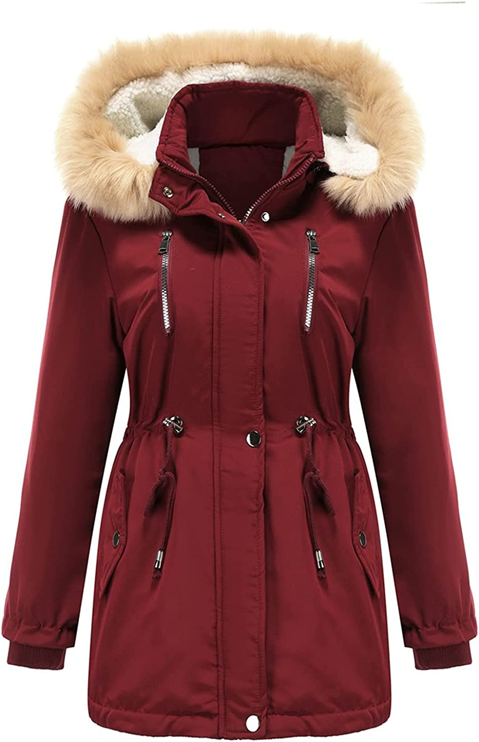 SHYSHY Women's Faux Fur Parka Outerwear Plus Size Winter Cotton Warm Overcoat Ladies Mid Length Thickened Jacket