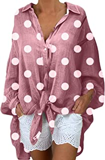 Remanlly Women Fashion Blouses Long Sleeve Casual Polka Dot Shirts V-neck Plus Size Tops