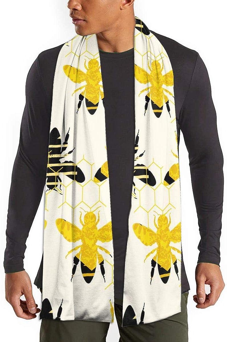 Fall Winter Scarf For Men/Women,Bee Seamless Geometric Pattern Fashion Scarf Warm Soft Wrap Shawl Scarves
