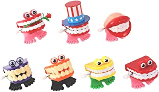 7PCS Chattering Teeth Wind Up Toy Walking Teeth with Eyes, Gags Practical Joke Toys Funny Small Feet Novelty Joke Gift