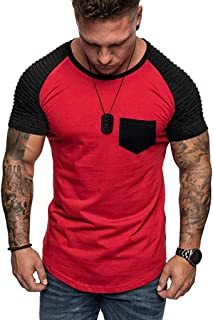 Forthery Men Casual Short Sleeve Slim Fit T-Shirt Fashion Pleated O Neck Short Sleeve Shirt Basic Tee Running Tops