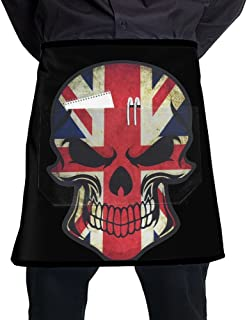 Nicokee British UK Flag Skull Chef Aprons Mens Womens Waist Tie Half Bistro Apron With 2 Pockets For Home Kitchen Cooking