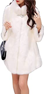LUKEEXIN Women's Elegant Long Sleeve Turndown Collar Faux Fur Coat with One Button
