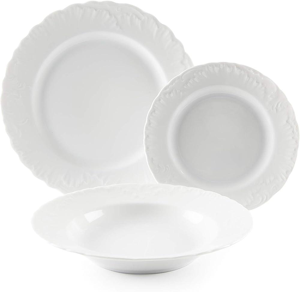 Excelsa elisa rococò,  servizio di piatti da 18 pezzi, in porcellana 60743_Bianco