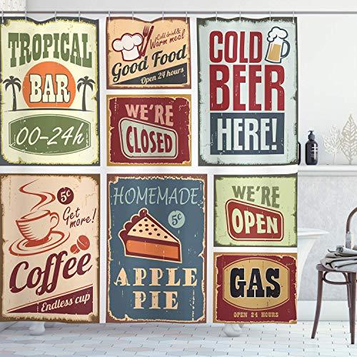 vrupi 1950er Jahre Duschvorhang, Vintage-Stil Zeichen Werbung Getränk Kaffeegetränk Alter Glas Tropische Nostalgie, Stoff Stoff Badezimmer Dekor Set mit Haken, 75 lang, Burgund Elfenbein