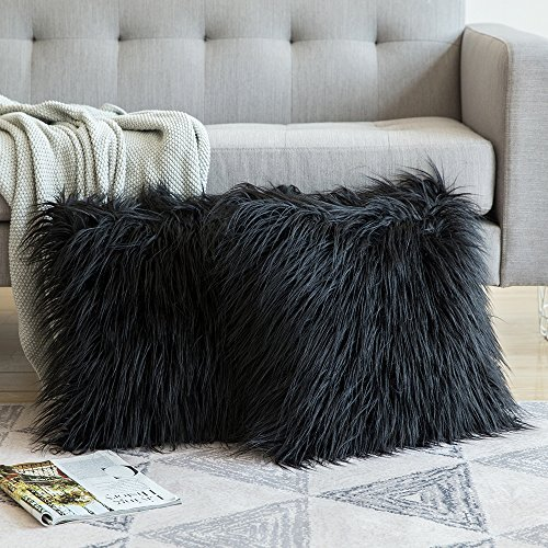 "Tiaronics Set of 2 Super Soft Plush Cushion Cover Faux Fur Decorative Throw Pillow Covers Pillowcases for Home Couch Sofa Bed Car (Grey, 22"" x 22"")"