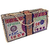 Stack of Cash Crystals Women Money Evening Clutch Bags diamond painting chain Wedding Dinner Purses and Handbags luxury