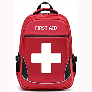 Camoredy First Aid Bag Empty Red Emergency Medical Backpack First Responder Trauma Bag Waterproof Multi-Pocket for Traveli...