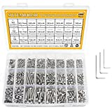 304 Stainless Steel Screws Nuts and Washers 1200PCS, Sutemribor M2 M3 M4 Hex Socket Head Cap Bolts Screws Nuts Washers Assortment Kit with Hex Wrenches