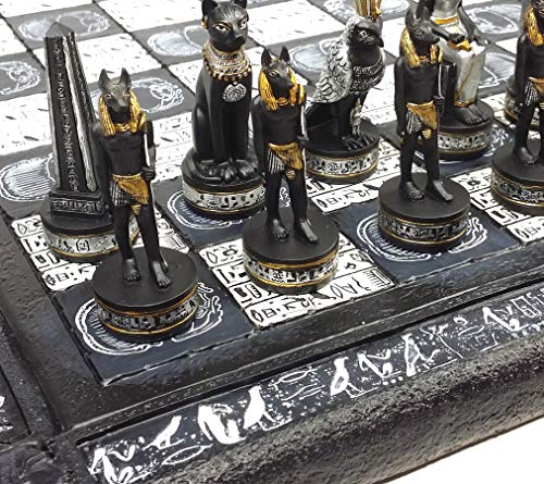 """Egyptian Anubis Chess Set Black Silver and Gold Men with 16"""" Hieroglyphic Board"""