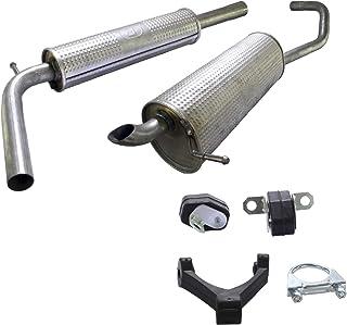 Auspuff Schalldämpfer Set Komplette Auspuffanlage ab Kat Endschalldämpfer + Mittelschalldämpfer + Montagesatz Zubehör