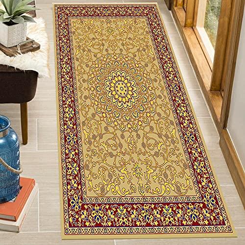 B&B Alfombra para puerta con diseño floral de pelo bajo, estilo tradicional oriental – 65 x 110 cm (2,5 x 9 pies x 17,8 cm), color beige