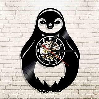 AGlitw 1 Reloj de Pared de pingüino Grande Reloj de Pared de Vinilo Animal Regalo para niños Enfermera de Animales decoración de Arte de Pared Regalo Retro