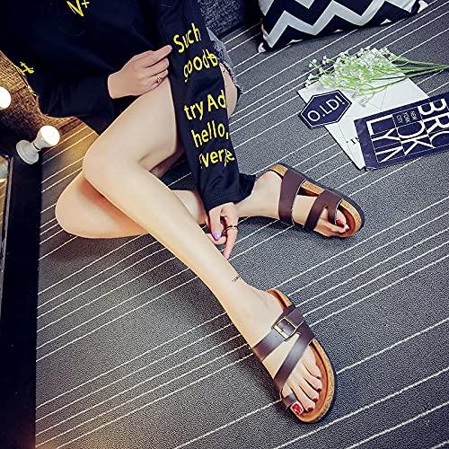COQUI Slippers Mujer casa,2018 Nuevos Zapatillas de Corcho Trend Fashion Beach Zapatos Pareja S Set C1034-marrón_37