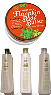 Trader Joe's Pumpkin Body Butter with Tea Tree Tingle Cruelty Free Bundle Gift Set- Shampoo, Conditioner, Body Wash