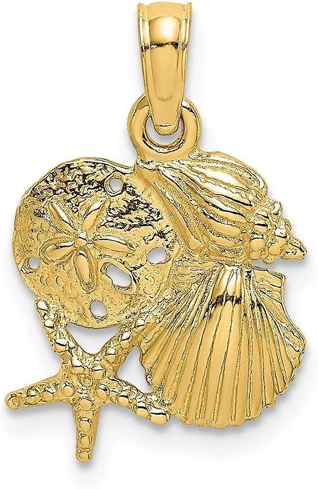 14k Yellow Gold 4 Pendant Ranking TOP6 Cluster Phoenix Mall Charm Shell